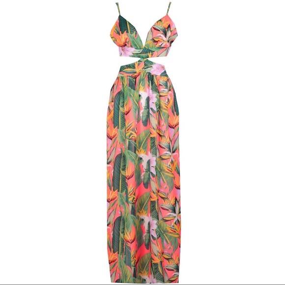 57cca68f66 Boohoo Dresses | Cut Out Maxi Tropical Beach Dress | Poshmark